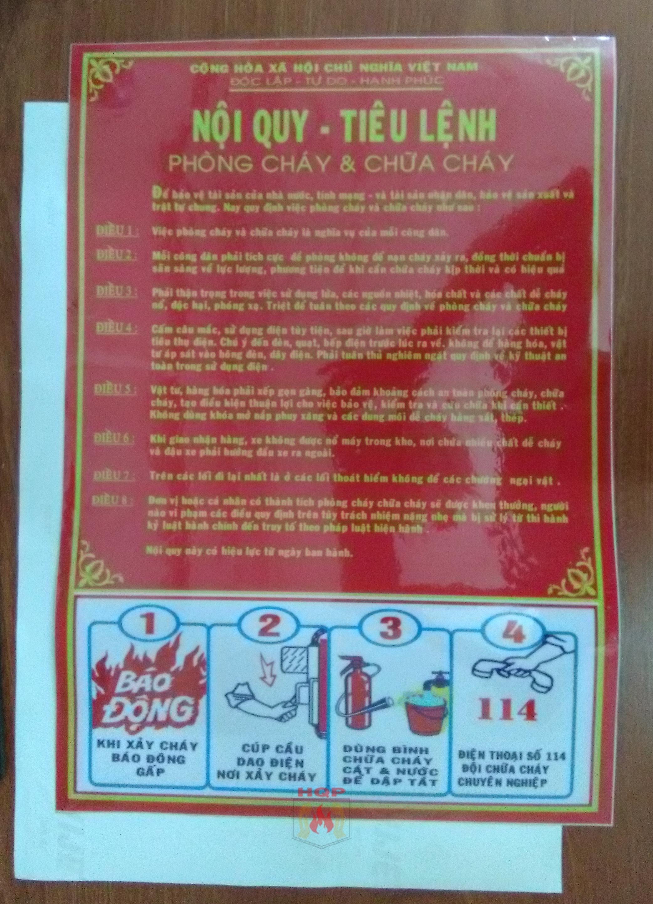 bảng nội quy chữa cháy bằng decal dán